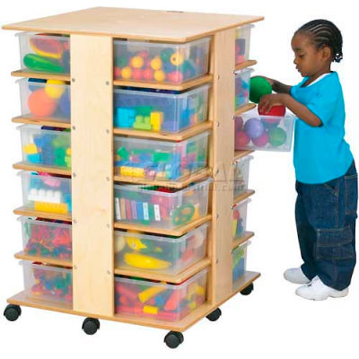 """Jonti-Craft® 24 Cubbie Mobile Tower With Colored Tubs, 27""""W x 27""""D x 40-1/2""""H, Birch Plywood"""