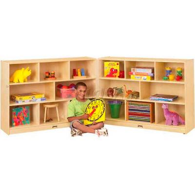 "Jonti-Craft® 10 Tray Super-Sized Mobile Fold-N-Lock w/o Tray, 96"" x 15"" x 35-1/2"",Birch Plywood"