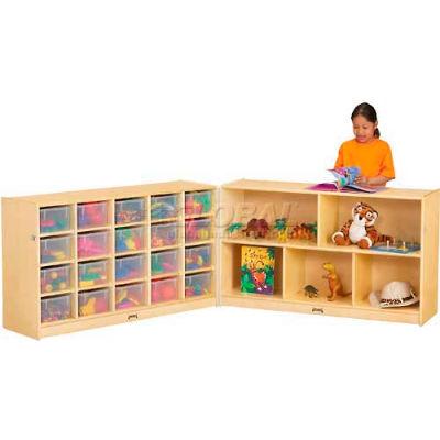 "Jonti-Craft® 20 Cubbie Mobile Fold-N-Lock w/Clear Trays, 96""W x 15""D x 29-1/2""H, Birch Plywood"