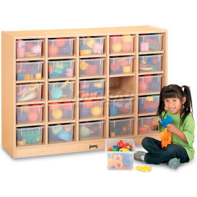 """Jonti-Craft® 25 Tray Mobile Cubbie Without Trays, 48""""W x 15""""D x 35-1/2""""H, Maple Laminate"""