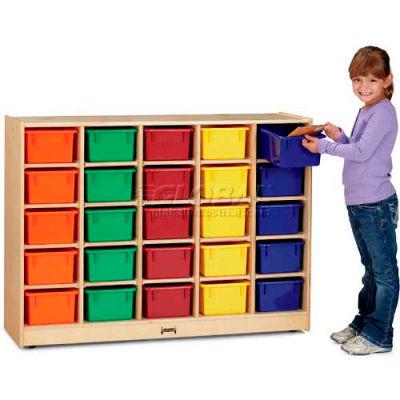 """Jonti-Craft® 25 Tray Mobile Cubbie w/Colored Trays, 48""""W x 15""""D x 35-1/2""""H, Birch Plywood"""