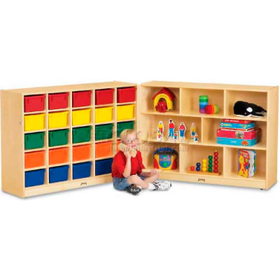 "Jonti-Craft® 25 Cubbie Mobile Fold-N-Lock With Colored Trays, 96""Wx15""Dx35-1/2""H, Birch Plywood"