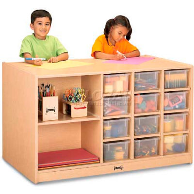 """Jonti-Craft® Mobile Storage Island, Twin w/Clear Trays, 48""""W x 29""""D x 29-1/2""""H, Maple Laminate"""