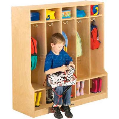 """Jonti-Craft® Kid Seat Coat Locker, 5 Wide, 48""""W x 17-1/2""""D x 50-1/2""""H, Birch Plywood"""