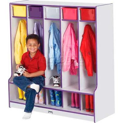 """Jonti-Craft® Kid Seat Coat Locker,5 Wide, 48""""W x 17-1/2""""D x 50-1/2""""H, Gray Laminate, Black Edge"""