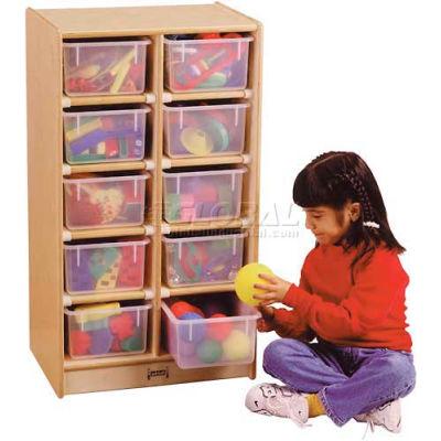 """Jonti-Craft® 10 Tray Mobile Cubbie w/Colored Trays, 20""""W x 15""""D x 35-1/2""""H, Birch Plywood"""