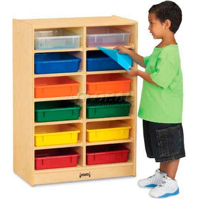"Jonti-Craft® Mobile Cubbie W/12 Colored Paper-Trays, 24-1/2""W x 15""D x 35-1/2""H, Birch Plywood"