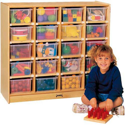 "Jonti-Craft® 20 Tray Mobile Cubbie w/Colored Trays, 38-1/2""W x 15""D x 35-1/2""H, Birch Plywood"
