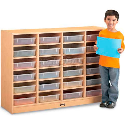 """Jonti-Craft® 24 Tray Mobile Cubbie w/Clear Paper-Trays, 48""""Wx15""""Dx35-1/2""""H, Maple Laminate"""