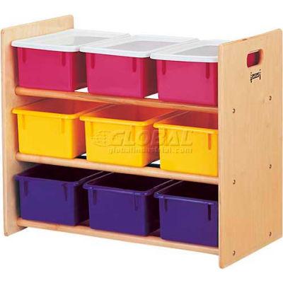 "Jonti-Craft® 9 Tray Storage Rack With Colored Trays, 28-1/2""Wx15""Dx24""H, Birch Plywood"