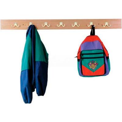 Jonti-Craft® Wall Mount Coat Rail, 7 Hooks, Birch Plywood