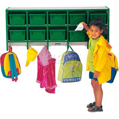"""Jonti-Craft® Wall Mount Coat Locker w/Trays, 48""""W x 15-1/2""""D x 20""""H, Gray Laminate, Purple Edge"""