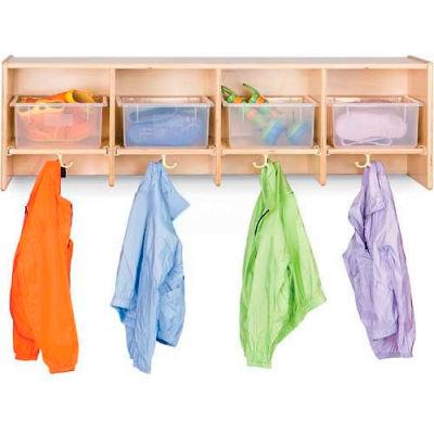 "Jonti-Craft® Wall Mount Compartment Locker w/Clear Trays, 48""Wx15""Dx14-1/2""H, Birch Plywood"