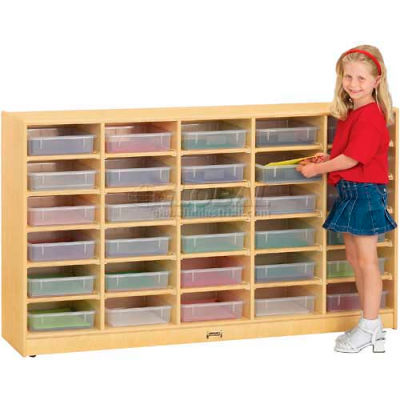"Jonti-Craft® 30 Tray Mobile Cubbie Without Paper-Trays, 60""W x 15""D x 35-1/2""H, Birch Plywood"
