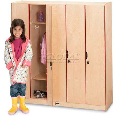 "Jonti-Craft® Kid Lockers w/Doors- 5 Wide , 48""W x 15-1/2""D x 50-1/2""H, Birch Plywood"