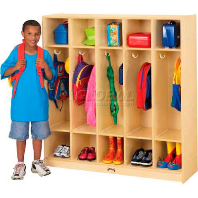"Jonti-Craft® THRIFTYKYDZ® Kid Coat Locker, 5 Wide, 48""W x 15""D x 50-1/2""H, Birch Plywood"