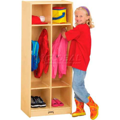 "Jonti-Craft® Kid Coat Locker, 2 Wide, 20""W x 15""D x 50-1/2""H, Birch Plywood"