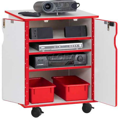 Jonti-Craft® RAINBOW ACCENTS® Presentation Mobile Cabinet - Gray with Red Edge