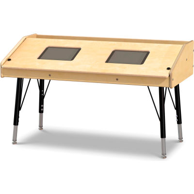 Jonti-Craft® Adjustable Height Dual Tablet Wooden Top Table - Stationary