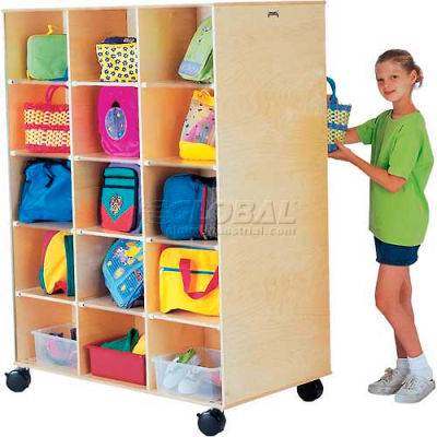 """Jonti-Craft® 30 Compartment Double-Sided Mobile Big Twin, 30, 48""""W x 27""""D x 65""""H, Birch Plywood"""