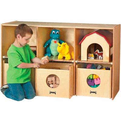 "Jonti-Craft® See-N-Wheel Shelf, with 3 See-N-Wheel Bins, 48""W x 18""D x 28-1/2""H, Birch Plywood"