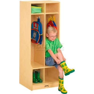 """Jonti-Craft® Kid Seat Coat Locker, 2 Wide, 20""""W x 17-1/2""""D x 50-1/2""""H, Birch Plywood"""