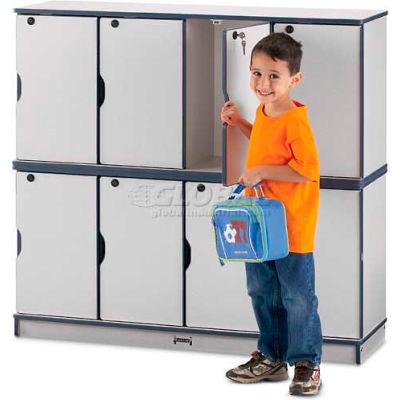 "Jonti-Craft® Lockable Lockers, Double Stack, 48-1/2""Wx15""Dx45-1/2""H, Gray Laminate, Black Edge"