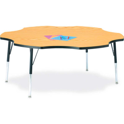 "Berries® Six Leaf Activity Table, 60""W x 60""L x 24-31""H, Classic Oak"