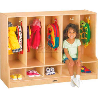"""Jonti-Craft® Toddler Coat Locker, 5 Wide, w/o Trays, 48""""W x 17-1/2""""D x 35""""H, Birch Plywood"""