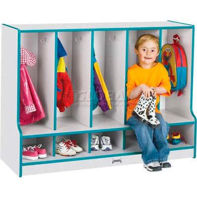 "Jonti-Craft® Toddler Seat Coat Locker, 5 Wide, w/o Trays, 48""Wx17-1/2""Dx35""H, Gray/Black Edge"