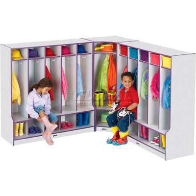 """Jonti-Craft® Kid Corner Seat Coat Locker, 24""""W x 17-1/2""""D x 50-1/2""""H, Gray Laminate, Black Edge"""