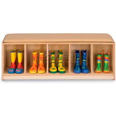 "Jonti-Craft® Kid Bench Locker, 5 Wide, Camel Cushion, 48""W x 15""D x 16""H, Birch Plywood"