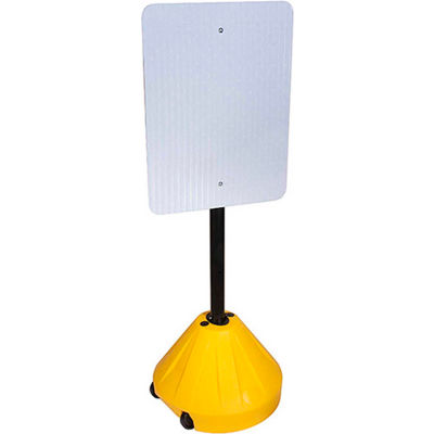 """Magic Master PP2-YL-58P Next Generation Rolling Yellow Sign Base w/ 58"""" Pole"""