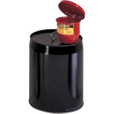 "Justrite® 8202 4-1/2"" dia. Steel Funnel - Manual-Close Cover & 1"" Flame Arrester"