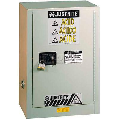 "Justrite 15 Gallon 1 Door, Manual, Left Hinge, Fume Hood Acid Cabinet, 24""x21-5/8""x35-3/4"", Neutral"