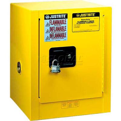 "Justrite 4 Gallon 1 Door, Manual, Countertop, Flammable Cabinet, 17""W x 17""D x 22""H, Red"