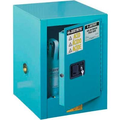 "Justrite 4 Gallon 1 Door, Self-Close, Countertop, Acid Corrosive Cabinet, 17""W x 17""D x 22""H, Blue"