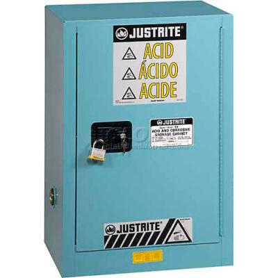 "Justrite 12 Gal.1 Door, Self-Close, Acid Corrosive Cabinet w/Painted Bottom, 23-1/4""Wx18""Dx35""H,Blue"