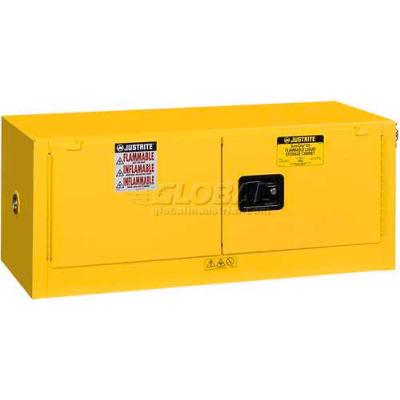 "Justrite 12 Gallon 2 Door, Manual, Piggyback, Flammable Cabinet, 43""W x 18""D x 18""H, Gray"