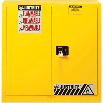 "Justrite 30 Gallon 2 Door, Manual, Flammable Cabinet, 36""W x 24""D x 35""H, Yellow"