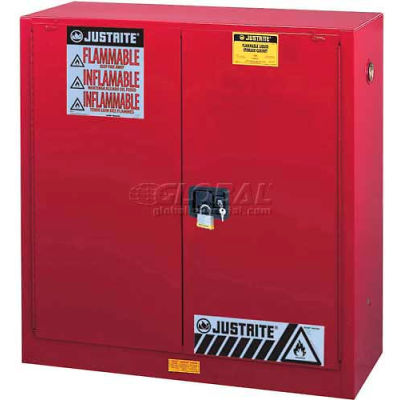 """Justrite 30 Gallon 2 Door, Manual, Flammable Cabinet, 36""""W x 24""""D x 35""""H, Red"""