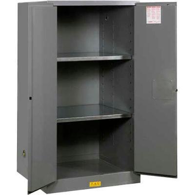 "Justrite 60 Gallon 2 Door, Self-Close, Flammable Cabinet, 34""W x 34""D x 65""H, Gray"