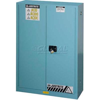Justrite® Drum Cabinet 55 Gal. Capacity Vertical Manual Close Acid Corrosive W/ Drum Rollers