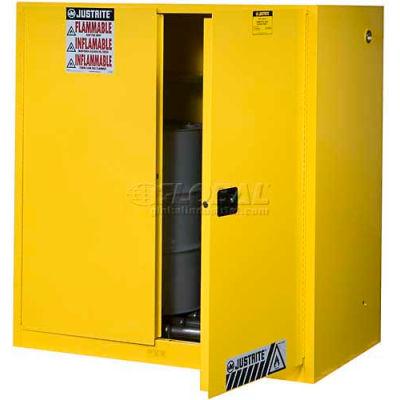 Justrite® Drum Cabinet 60 Gal. Capacity Vertical Self Close Hazmat Flammable W/ Drum Rollers