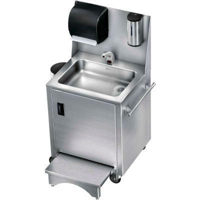 Just Mfg. Enviro Series Touchless Portable Hand Wash Station w/Slide Step, Hot/Cold, Stainless Steel