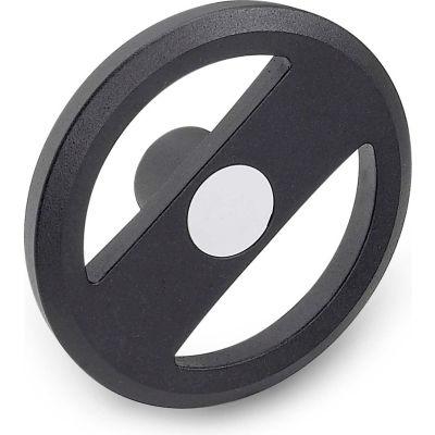 "JW Winco - 20MRX5K/A - Alum. Flat-Faced Spoked Handwheel w/o Handle - 7.87"" D x 20mm Bore - Black"