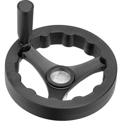 "JW Winco - 6360010 - Plastic 3 Spoked Handwheel w/ Rev Handle - 4.92"" Dia x .24"" Pilot Hole"