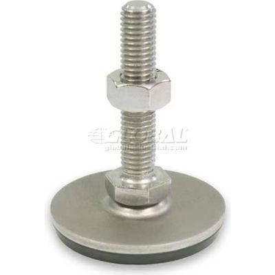 "Leveling Foot W/Plastic Cap, 3/8-16 x 3.93"" Stud, 1.57"" Base Dia, 4.49""H, 1800 Lbs. Cap, 304 SS"