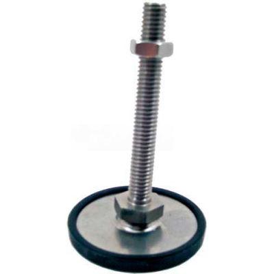 "Leveling Foot W/Plastic Cap, 3/8-16 x 3.93"" Stud, 3.15"" Base Dia, 4.45""H, 2250 Lbs. Cap, 304 SS"