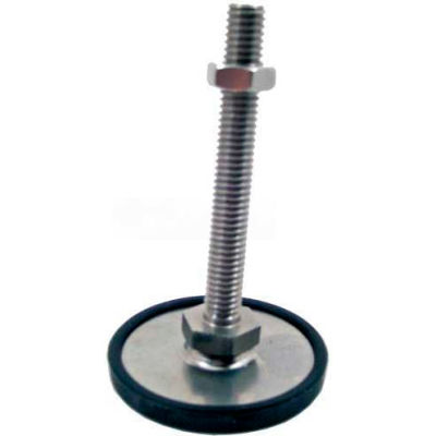 "Leveling Foot W/Plastic Cap, 1/2-13 x 3.93"" Stud, 1.57"" Base Dia, 4.41""H, 1800 Lbs. Cap, 304 SS"